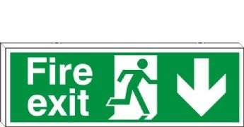Fire Exit Arrow Down - Fire Safety Sign (FE.06)