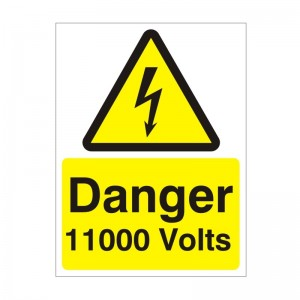 Danger 11000 Volts - Health and Safety Sign (WAE.10)