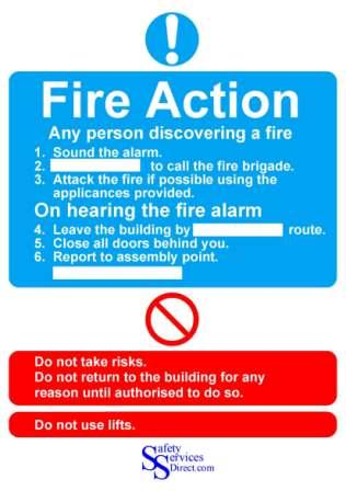 FIRE ACTION NOTICE - FIRE HEALTH & SAFETY SIGN