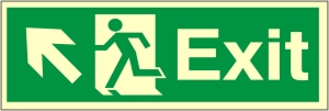 Exit Arrow Up Left - Fire Safety Sign (EX.38)