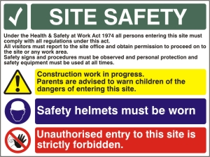 Construction Site Safety Sign - Health and Safety Sign (LF.05) BEST VALUE!