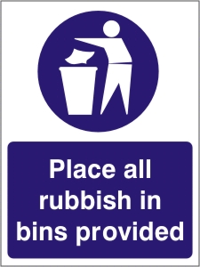 Place All Rubbish in Bins Provided - Health and Safety Sign (MAG.06)