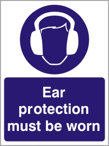 Ear Protection Must be Worn - Health and Safety Sign (MAP.15)