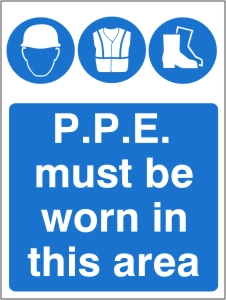 PPE Must be Worn in this Area - Health and Safety Sign (MAP.28)