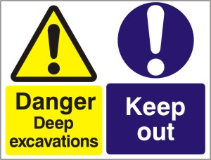 Danger Deep Excavations - Keep Out - Health and Safety Sign (MUL.10)
