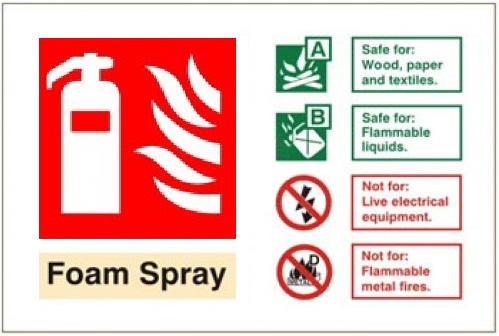 Foam Spray Fire Extinguisher - Health and Safety Sign (FIW.12)