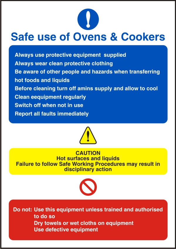 Safe Use Of Ovens Amp Cookers Health And Safety Sign Scs010