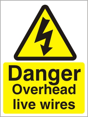 Danger Overhead Live Wires - Health and Safety Sign (WAE.04)