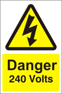Danger 240V - Health and Safety Sign (WAE.07)