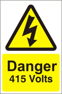 Danger 415V - Health and Safety Sign (WAE.08)
