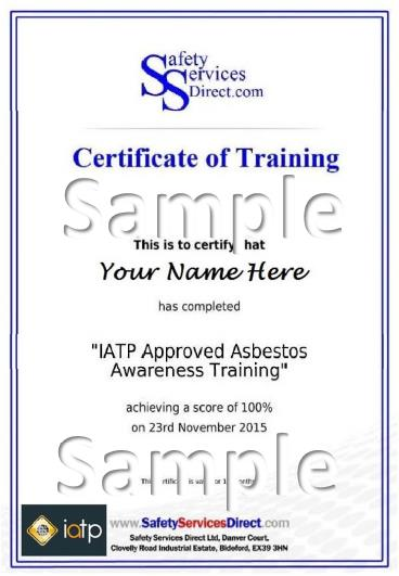IATP Online Asbestos Awareness Training course Certificate - Category A