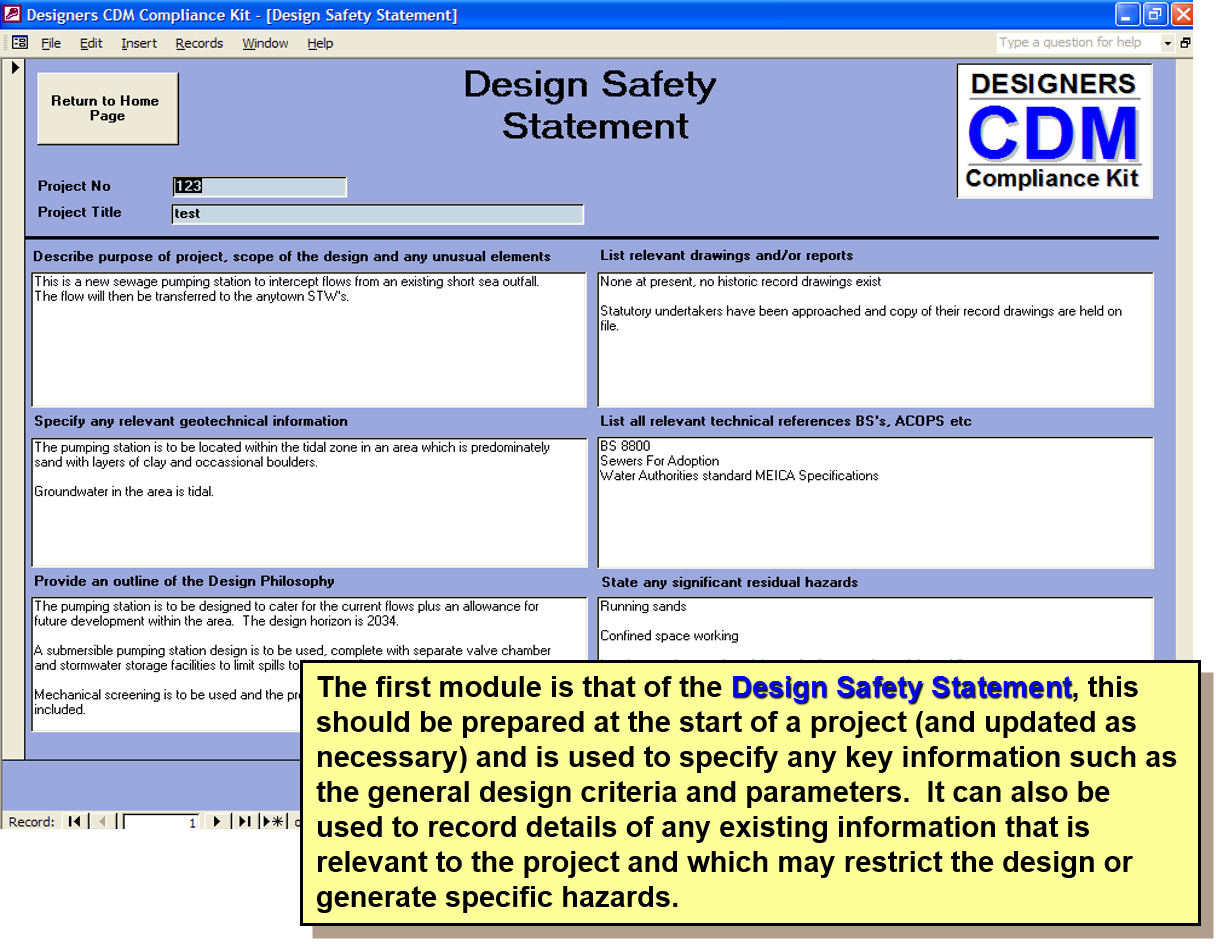 Cdm 2015 compliance kit risk assesment for designers ssd for Cdm health and safety file template