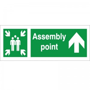 Assembly Point - Arrow Up - Health and Safety Sign