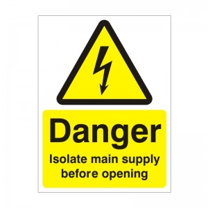 Danger Isolate Mains Supply Before Opening - Health and Safety Sign (WAE.21)
