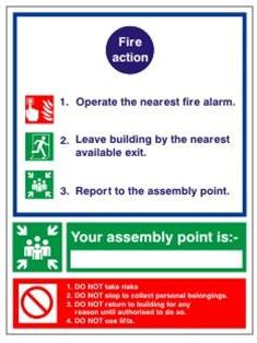 SELF ADHESIVE FIRE ACTION NOTICE - FIRE HEALTH & SAFETY SIGN - (ACT 06W)
