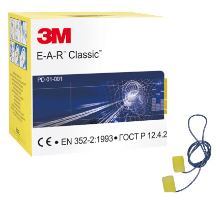 3M EAR Classic Corded Foam Ear Plugs (Box of 200)
