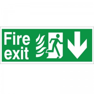 Fire Exit - Down Arrow - Healthcare Establishment Health and Safety Sign (HM.02)