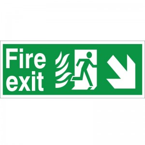 Fire Exit - Down/Right Arrow - Healthcare Establishment Health and Safety Sign (HM.05)