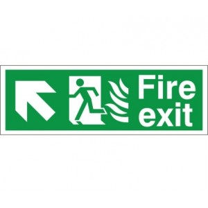 Fire Exit - Up / Right Arrow - Health and Safety Sign