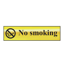 Brass / Chrome Effect Mini Metallic No Smoking Sign (MMS.13) 200x50mm