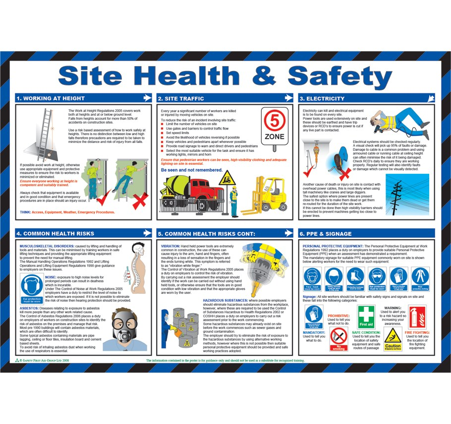 Construction Site Health and Safety Poster | Safety Services Direct