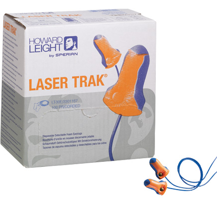 Howard Leight Laser Trak Detectable Foam Ear Plugs (Box of 100 Pairs)