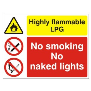 Highly Flammable LPG No Smoking No Naked Lights - Health and Safety Sign (MUL.01)