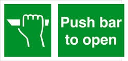 Push Bar To Open Fire Exit Health and Safety Sign
