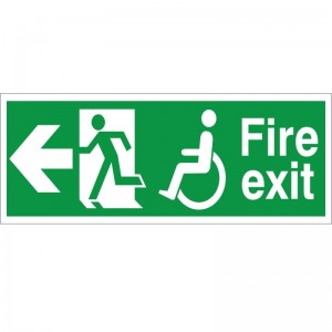 Fire Exit - Refuge -Left Arrow - Health and Safety Sign (FER.02)