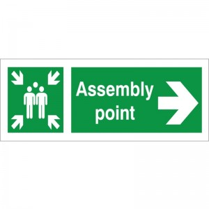 Assembly Point - Right Arrow - Health and Safety Sign