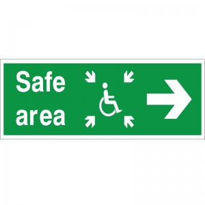 Safe Area - Refuge - Right Arrow - Health and Safety Sign (FER.07)