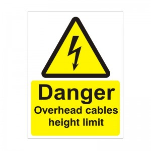 Danger Overhead Cables Height Limit - Health and Safety Sign (WAE.19)