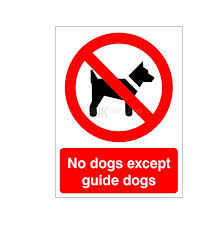 No Dogs Except Guide Dogs - Health and Safety Sign (PRG.33) - Amazing savings on all the health and safety signs you need. Only £1.75!