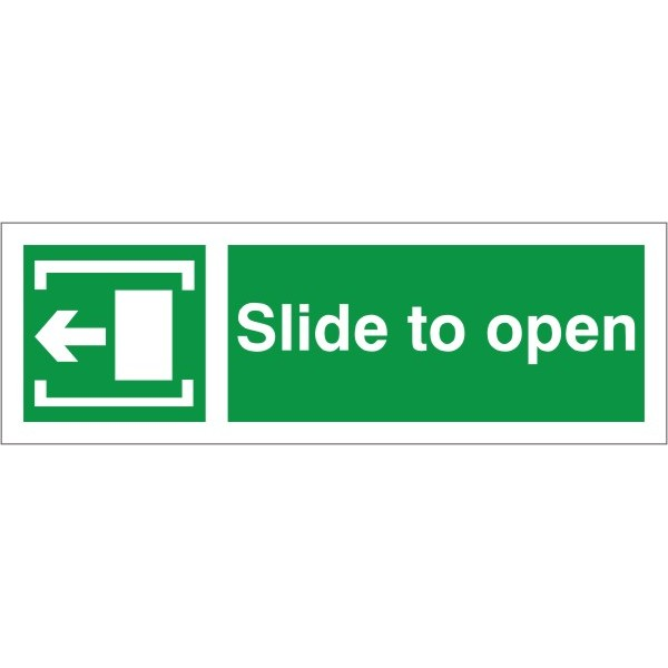 Slide To Open Left Arrow Fire Exit Health And Safety