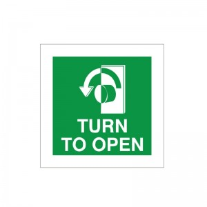 Turn To Open - Left - Fire Exit Health and Safety Sign (FED.05) - For just 90p, Safety Services Direct offers amazing quality signs for some of the cheapest prices you can find online!
