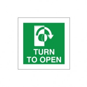 Turn To Open - Right - Fire Exit Health and Safety Sign (FED.06)