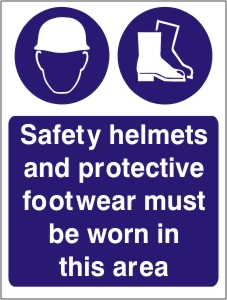 Safety Helmets and Protective Footwear Must be Worn - Health and Safety Sign (MAP.11)