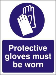 Protective Gloves Must be Worn - Health and Safety Sign (MAP.22)
