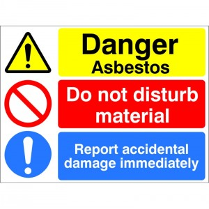 Danger Asbestos Do Not Disturb Material - Health and Safety Sign (MUL.30)