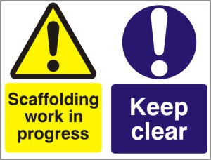 Keep Clear - Scaffolding Work in Progress - Health and Safety Sign (MUL.07)