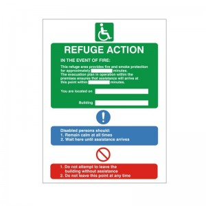 Refuge Action - Refuge - Health and Safety Sign (FER.12) - Clear, concise and highly durable fire exit signs for the disabled from Safety Services Direct! Only £1.75!