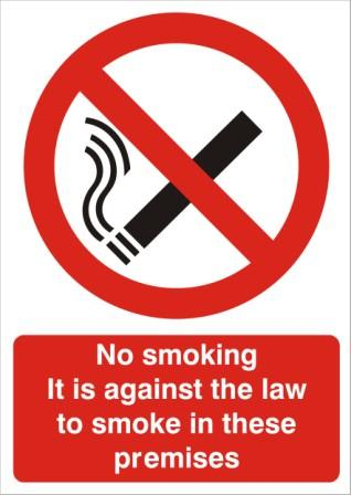 NO SMOKING SIGNS - REVERSE PRINTED - HEALTH & SAFETY SIGNS