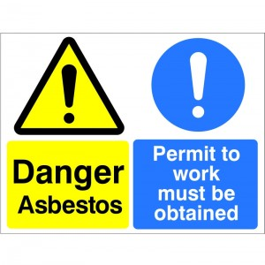 Danger Asbestos Permit To Work Must Be Obtained - Health and Safety Sign (MUL.19)