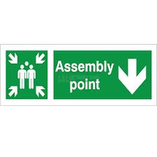 Assembly Point - Down Arrow - Health and Safety Sign (FE.34)