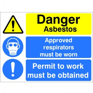 Danger Asbestos Approved Respirators Must Be Worn - (MUL.83)