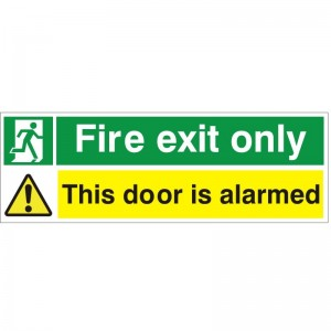 Fire Exit Only This Door Is Alarmed - Health and Safety Sign (FE.91)