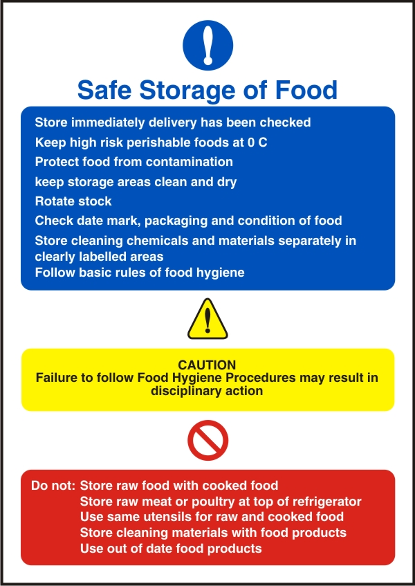 Safe Storage Of Food Health And Safety Sign Ssd