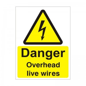 Danger Overhead Live Wires - Health and Safety Sign (WAE.35)