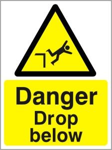 Danger Drop Below - Health and Safety Sign (WAC.14)
