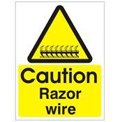 Caution Razor wire - Health and Safety Sign - SSD